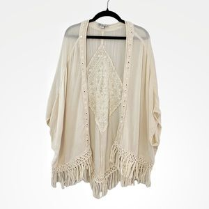 American Eagle Gauzy Fringe Bohemian Cream Kimono